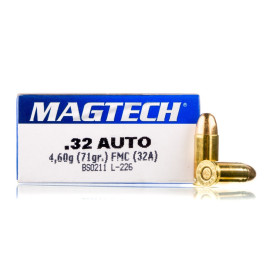 Image For 50 Rounds Of 71 Grain FMJ Boxer Brass 32 ACP Magtech Ammunition