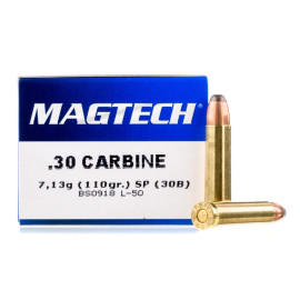 Image For 50 Rounds Of 110 Grain SP Boxer Brass 30 Carbine Magtech Ammunition