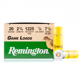 Image For 25 Rounds Of 7/8 oz. #7-1/2 Shot 20 Gauge Remington Ammunition