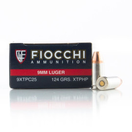 Image For 25 Rounds Of 124 Grain XTP Boxer Nickel-Plated Brass 9mm Fiocchi Ammunition