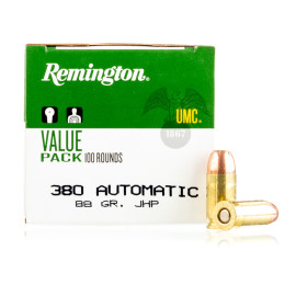 Image For 600 Rounds Of 88 Grain JHP Boxer Brass 380 ACP Remington Ammunition