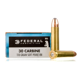 Image For 20 Rounds Of 110 Grain SP Boxer Brass 30 Carbine Federal Ammunition