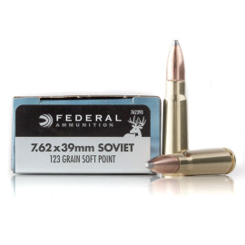 Image For 20 Rounds Of 123 Grain SP Boxer Brass 7.62x39 Federal Ammunition