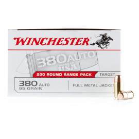 Image For 200 Rounds Of 95 Grain FMJ Boxer Brass 380 ACP Winchester Ammunition