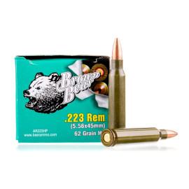 Image For 20 Rounds Of 62 Grain HP Berdan Steel 223 Rem Brown Bear Ammunition