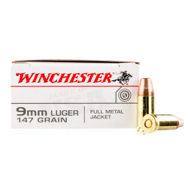 Image For 500 Rounds Of 147 Grain FMJ Boxer Brass 9mm Winchester Ammunition