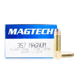 Image For 50 Rounds Of 158 Grain SJHP Boxer Brass 357 Magnum Magtech Ammunition