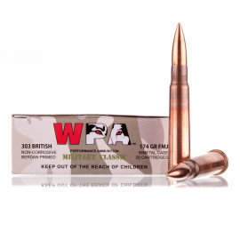 Image For 20 Rounds Of 174 grain FMJ Berdan Steel 303 British Wolf Ammunition