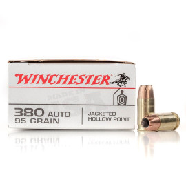 Image For 500 Rounds Of 95 Grain JHP Boxer Brass 380 ACP Winchester Ammunition