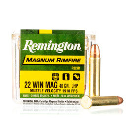 Image For 50 Rounds Of 40 Grain JHP Rimfire Brass 22 WMR Remington Ammunition