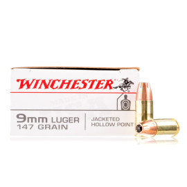 Image For 50 Rounds Of 147 Grain JHP Boxer Brass 9mm Winchester Ammunition
