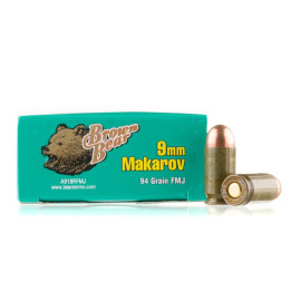 Image For 50 Rounds Of 94 Grain FMJ Berdan Steel 9mm Makarov Brown Bear Ammunition