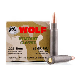 Image For 20 Rounds Of 62 Grain FMJ Berdan Steel 223 Rem Wolf Ammunition