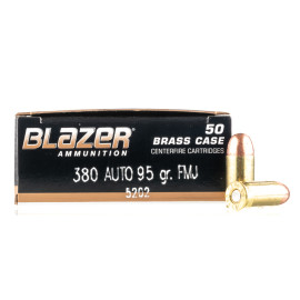 Image For 50 Rounds Of 95 Grain FMJ Boxer Brass 380 ACP Blazer Brass Ammunition