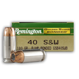 Image For 50 Rounds Of 180 Grain JHP Boxer Nickel-Plated Brass 40 Cal Remington Ammunition
