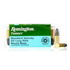 Image For 100 Rounds Of 40 Grain LRN Rimfire Brass 22 LR Remington Ammunition