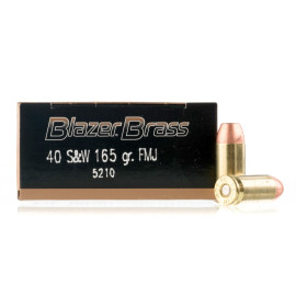 Image For 50 Rounds Of 165 Grain FMJ Boxer Brass 40 Cal Blazer Brass Ammunition