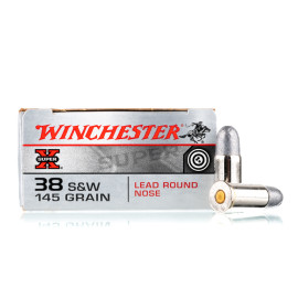 Image For 50 Rounds Of 145 Grain LRN Boxer Nickel-Plated Brass 38 S&W Winchester Ammunition