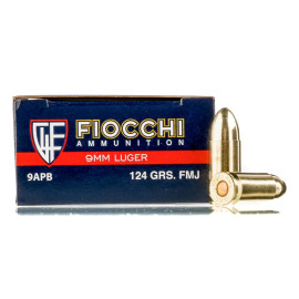 Image For 50 Rounds Of 124 Grain FMJ Boxer Brass 9mm Fiocchi Ammunition
