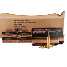 Image For 200 Rounds Of 55 Grain FMJ-BT Boxer Brass 223 Rem PMC Ammunition