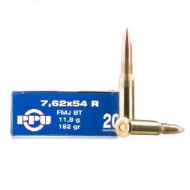 Image For 20 Rounds Of 182 Grain FMJ-BT Boxer Brass 7.62x54r Prvi Partizan Ammunition