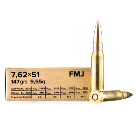 Image For 20 Rounds Of 147 Grain FMJ Boxer Brass 308 Win Sellier and Bellot Ammunition