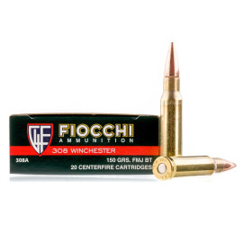 Image For 20 Rounds Of 150 Grain FMJ Boxer Brass 308 Win Fiocchi Ammunition