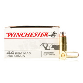 Image For 500 Rounds Of 240 Grain JSP Boxer Brass 44 Magnum Winchester Ammunition