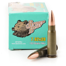 Image For 20 Rounds Of 123 Grain FMJ Berdan Steel 7.62x39 Brown Bear Ammunition
