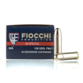 Image For 1000 Rounds Of 130 Grain FMJ Boxer Brass 38 Special Fiocchi Ammunition