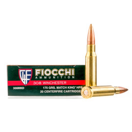 Image For 20 Rounds Of 175 Grain HPBT Boxer Brass 308 Win Fiocchi Ammunition