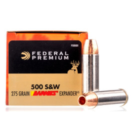 Image For 20 Rounds Of 275 Grain JHP Boxer Brass 500 S&W Magnum Federal Ammunition