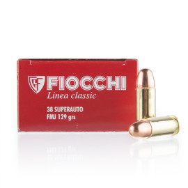 Image For 50 Rounds Of 129 Grain FMJ Boxer Brass 38 Super Fiocchi Ammunition