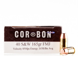 Image For 50 Rounds Of 165 Grain FMJ Boxer Brass 40 Cal Corbon Ammunition