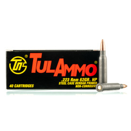 Image For 40 Rounds Of 62 Grain HP Berdan Steel 223 Rem TulAmmo Ammunition