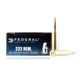 Image For 20 Rounds Of 50 Grain SP Boxer Brass 222 Rem Federal Ammunition