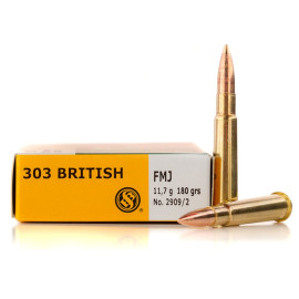 Image For 20 Rounds Of 180 Grain FMJ Boxer Brass 303 British Sellier and Bellot Ammunition