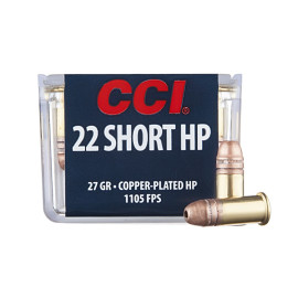 Image For 100 Rounds Of 27 Grain CPHP Rimfire Brass 22 Short CCI Ammunition