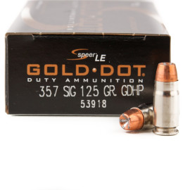 Image For 50 Rounds Of 125 Grain JHP Boxer Nickel-Plated Brass 357 Sig Speer Ammunition
