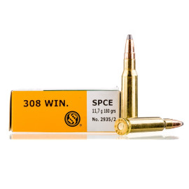 Image For 20 Rounds Of 180 Grain SPCE Boxer Brass 308 Win Sellier and Bellot Ammunition