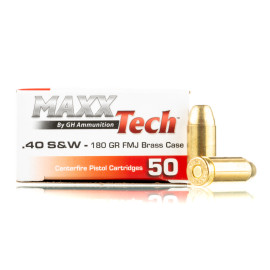 Image For 500 Rounds Of 180 Grain FMJ Boxer Brass 40 Cal MaxxTech Ammunition