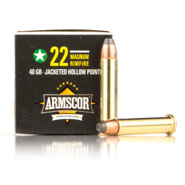 Image For 500 Rounds Of 40 Grain JHP Rimfire Brass 22 WMR Armscor Ammunition