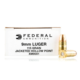 Image For 1000 Rounds Of 115 Grain JHP Boxer Brass 9mm Federal Ammunition
