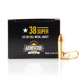 Image For 1000 Rounds Of 125 Grain FMJ Boxer Brass 38 Super Armscor Ammunition