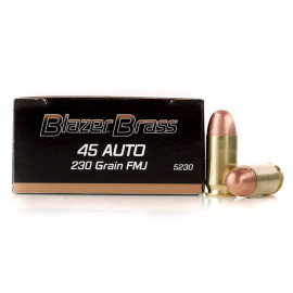 Image For 50 Rounds Of 230 Grain FMJ Boxer Brass 45 Auto Blazer Brass Ammunition
