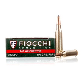 Image For 20 Rounds Of 100 Grain PSP Boxer Brass 243 Win Fiocchi Ammunition