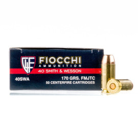 Image For 50 Rounds Of 170 Grain FMJ Boxer Brass 40 Cal Fiocchi Ammunition