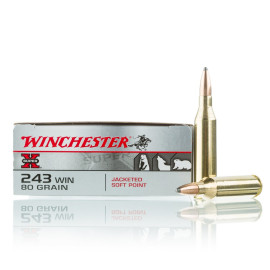 Image For 20 Rounds Of 80 Grain SP Boxer Brass 243 Win Winchester Ammunition