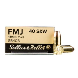 Image For 50 Rounds Of 180 Grain FMJ Boxer Brass 40 Cal Sellier and Bellot Ammunition