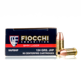 Image For 50 Rounds Of 124 Grain JHP Boxer Brass 9mm Fiocchi Ammunition